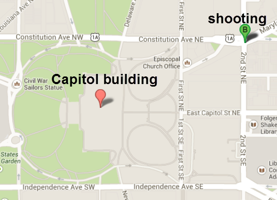 Shots Fired Outside US Capitol Building - Map of us capital building