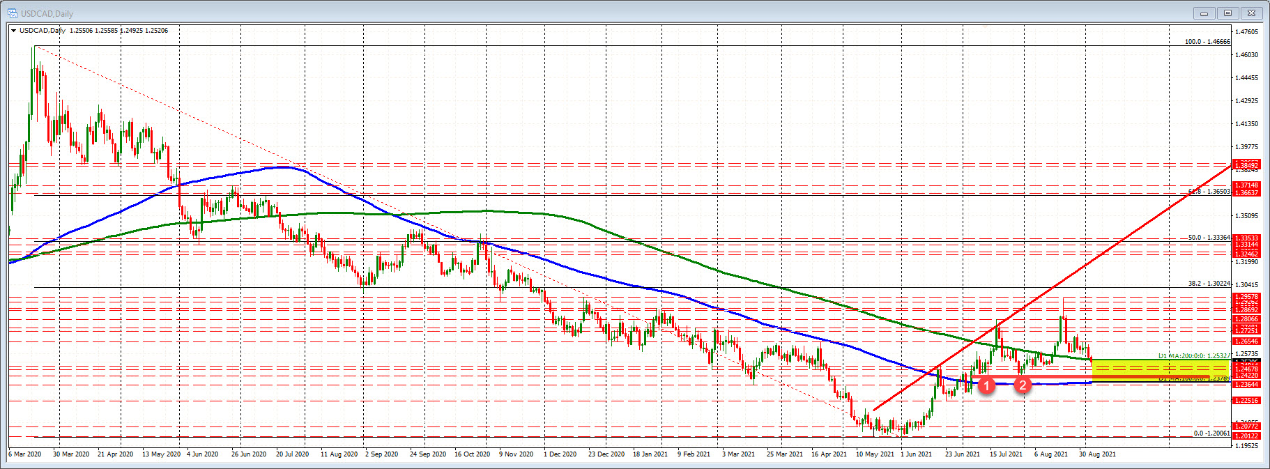 USDCAD daily map