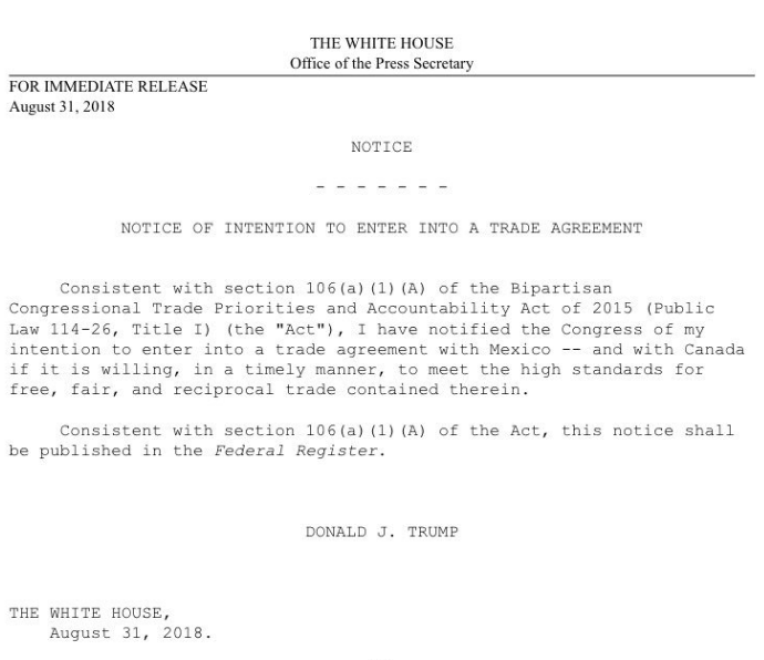Heres The Full Text Of Trumps Letter To Congress On Nafta Trade Deal
