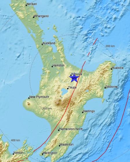 Map Of Rotorua New Zealand.New Zealand North Island Earthquake M5 0