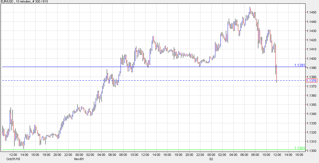 Euro falls to session low, puts support at 1 1300 back in play