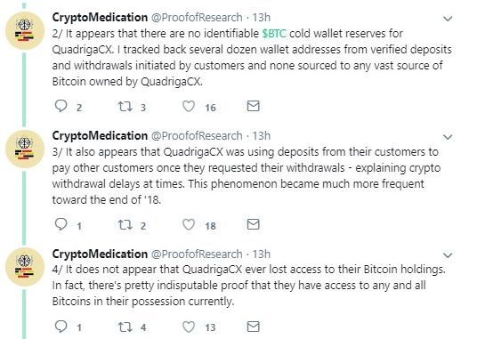QuadrigaCX bitcoin tweets