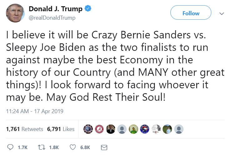 Trump Biden Sanders
