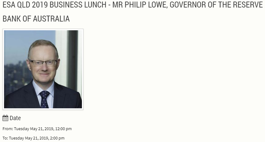 Reserve Bank of Australia Gov Philip Lowe speech topic is: The Economic Outlook and Monetary Policy