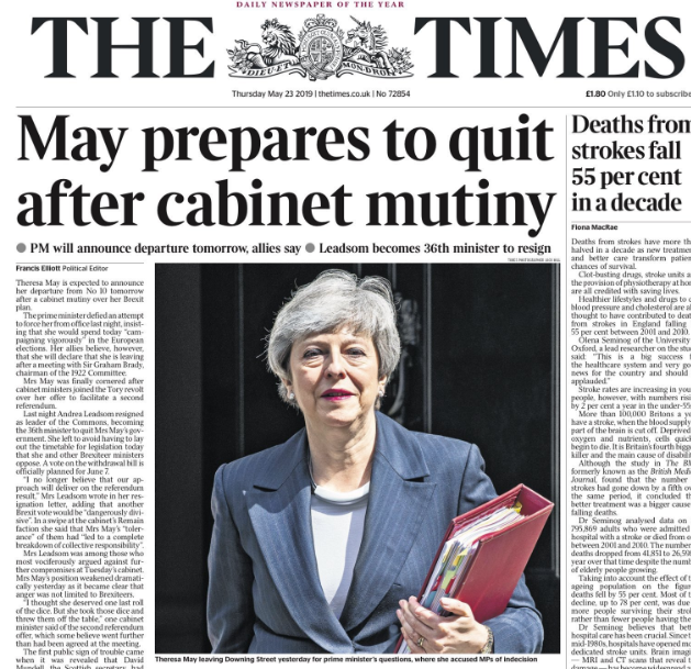 Greg had the news earlier that UK PM May would be giving the date and time of her resignation on Friday 24 May 2019.