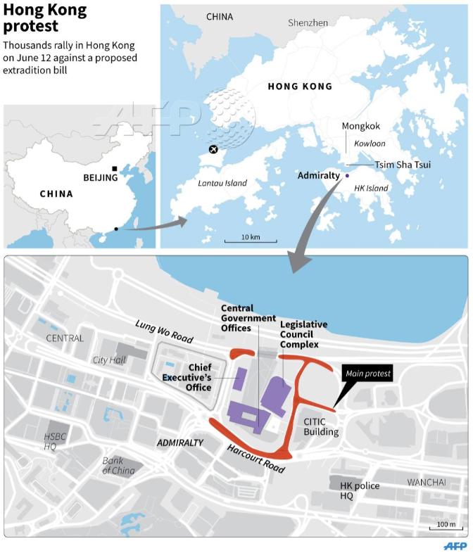 hong kong protest map