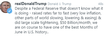 Trump starts off the week with a shot at the Fed
