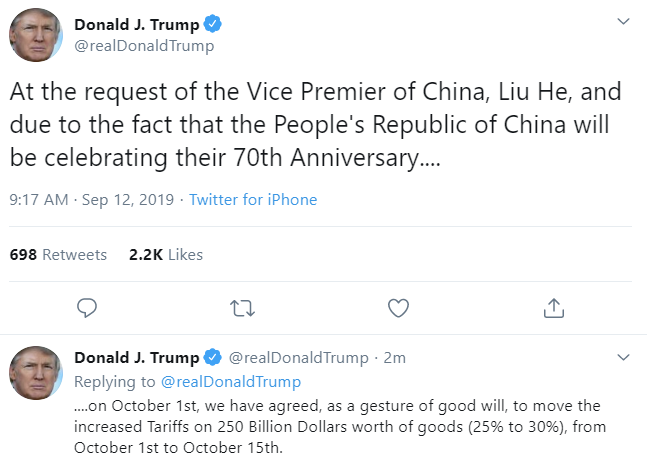 Is this significant in the scheme of timings? No, it isn't. BUT … as part of the picture indicating a thawing of relations with China perhaps its significant.
