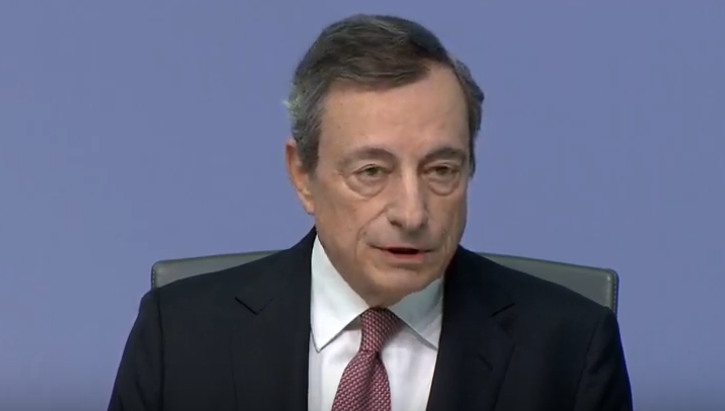 Draghi answers questions for reporters