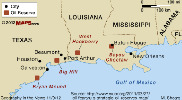 spr sites oil us reserves