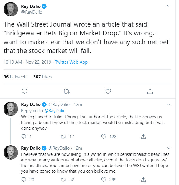 Ray Dalio from Bridgewater Associates responsed to WSJ article