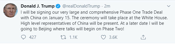 Pres. Trump tweets about phase 1 China trade deal signing date_