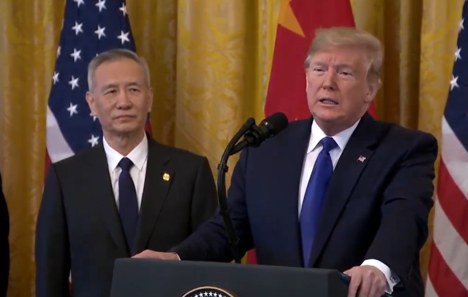 China state TV report on the signing of the phase 1 trade deal, comments from Vice Premier Liu He: