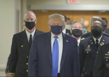 Trump finally caved in over the weekend and wore a mask in public.