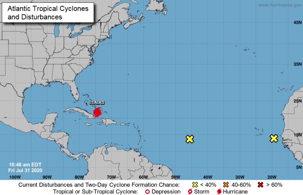 Hurricane Isaias tracks north of Cuba