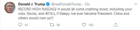 Near. Trump tweets on NASDAQ