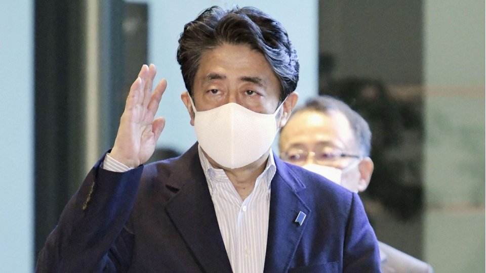 Japanese prime Minister Abe speaking, says the virus situation is very different from the situation April