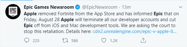 Apple removed Fortnite from app store