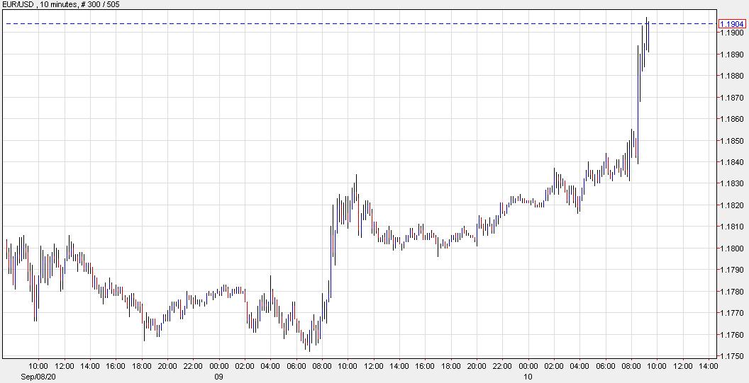 Euro gains on ECB