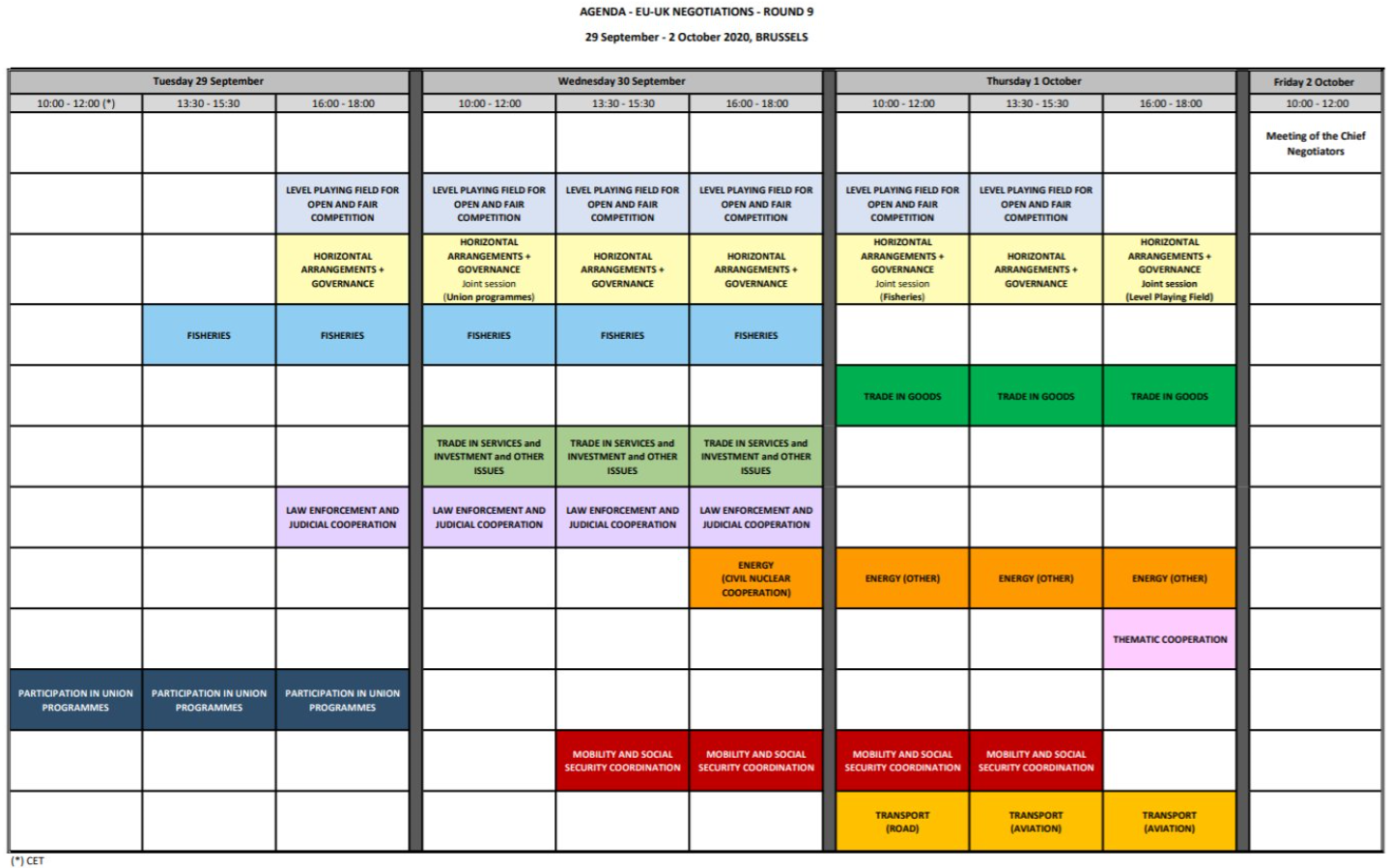 All the times in the table below are CET. The talks are taking place in Brussels.