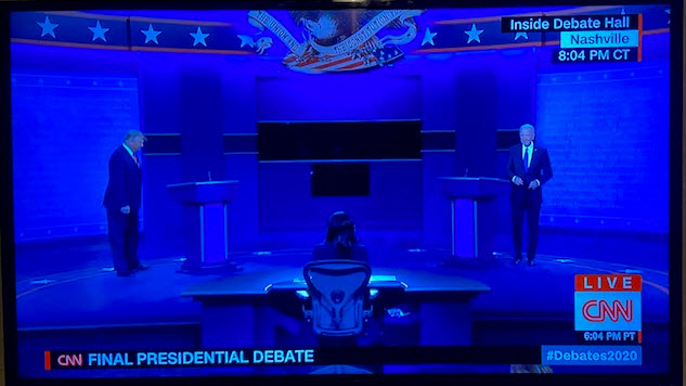Photo of The presidential debate begins.