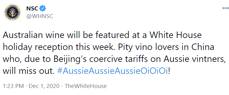 The background to this is China placing punitive tariffs on Australian wines, and a load of other Australian products too.