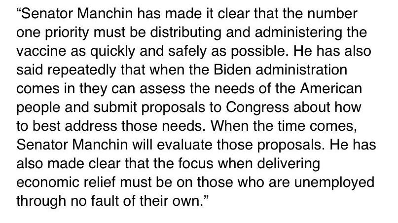 Manchin discrepa con la caracterización del Washington Post