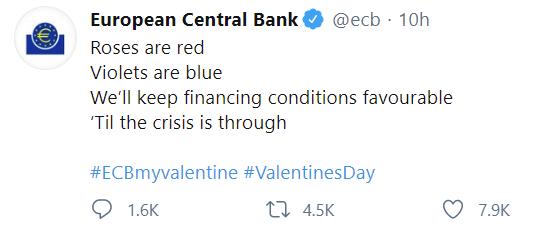 ECB tweet to celebrate V day.