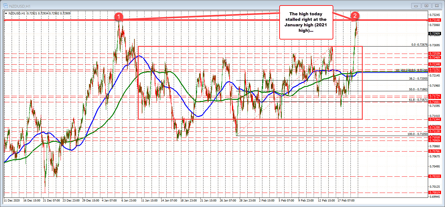 NZDUSD on the hourly chart