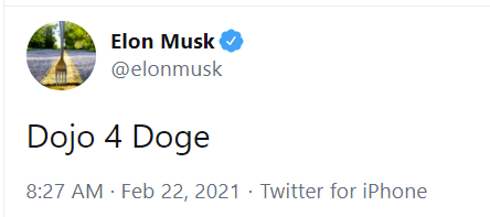 Elon Musk tweeting on Dogecoin