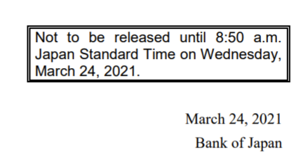 BOJ meeting minutes are preceded, by many, many weeks, but the 'Summary of Opinions' of the meeting