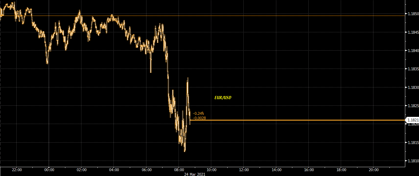 The euro's light jump on the stellar German PMI report quickly fades