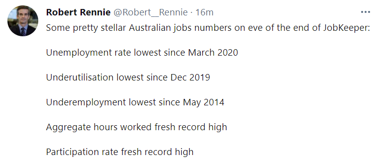 The Australian jobs report spat out to excellent headline results: