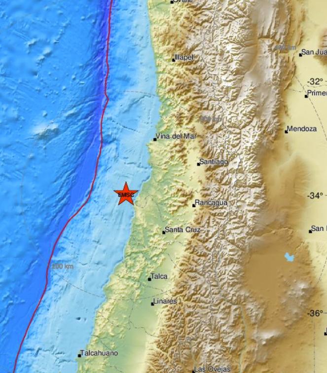 The quake hit 157km west of Santiago