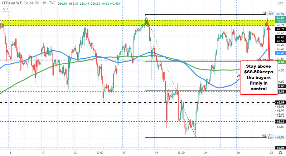 WTI crude oil futures settle at $66.85