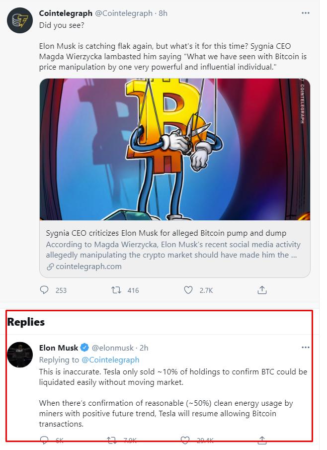 tweel from TSLA CEO Elon MuskBitcoin