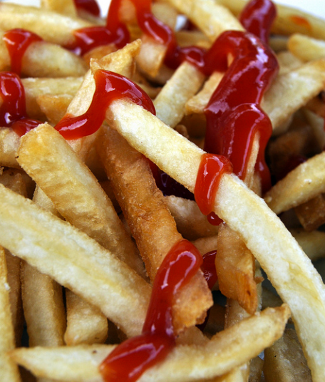 chips french fries ketchup