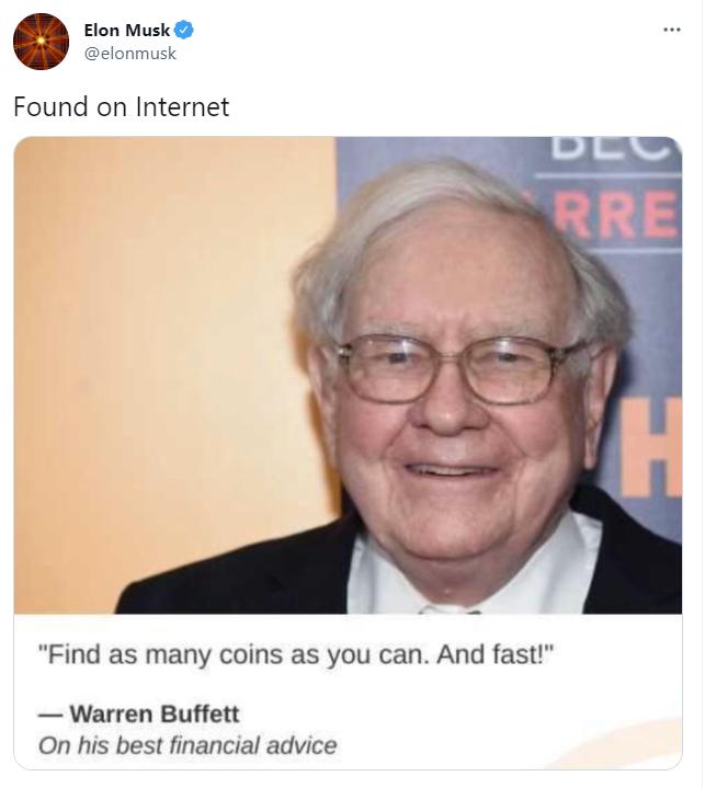 Elon Musk tweets Buffett advice to 'find coins'