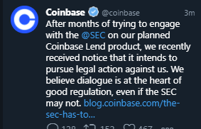 Crypto exchange Coinbase says US regulators to pursue legal action against it