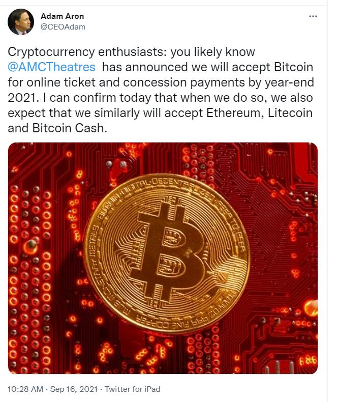 AMC already accept payment in Bitcoin.