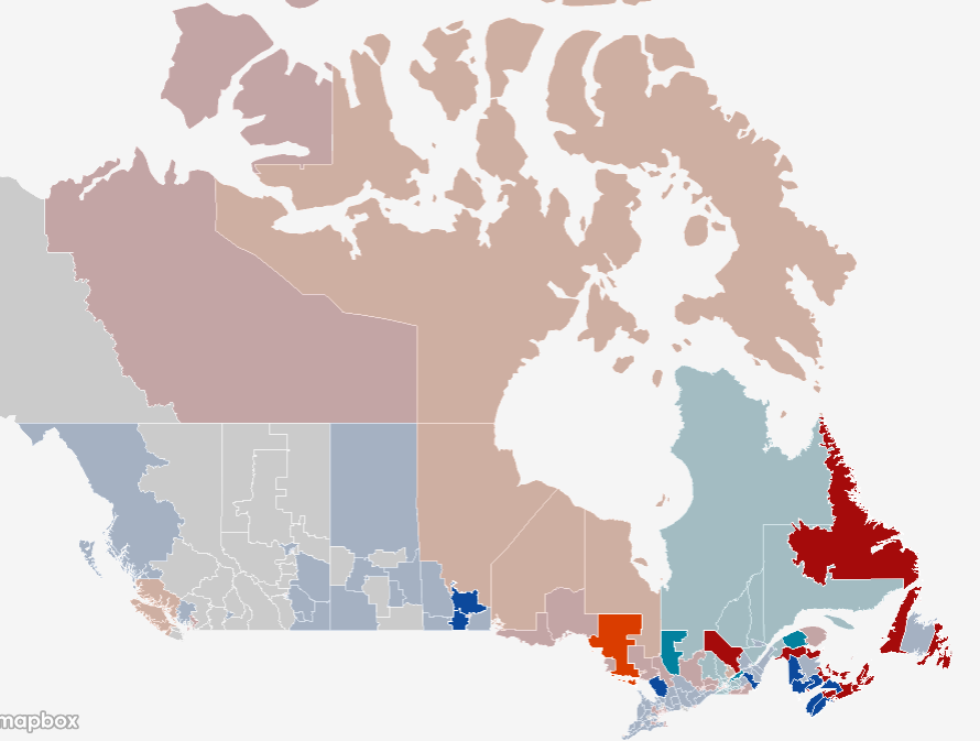 Canadian electoral map