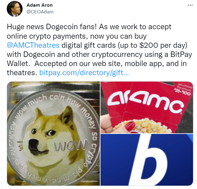 AMC CEO tweets accepting Dogecoin, other crypto, in payment for digital gift cards