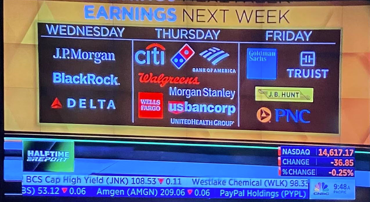 Earning's for the quarter kickoff next week with financials and banks leading the charge