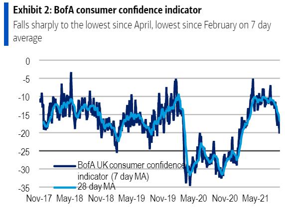 UK consumer confidence sinks amid inflation fears - BofA survey