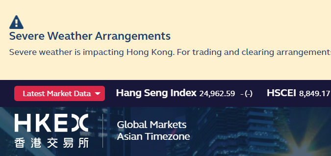 Hong Kong stock exchange delays morning trading session due to typhoon